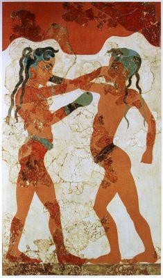 Začetki boksa: Minojska fanta pri boksu v rokavicah na freski